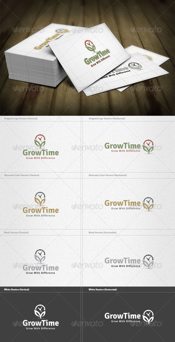 Grow Time Logo - Nature Logo Templates