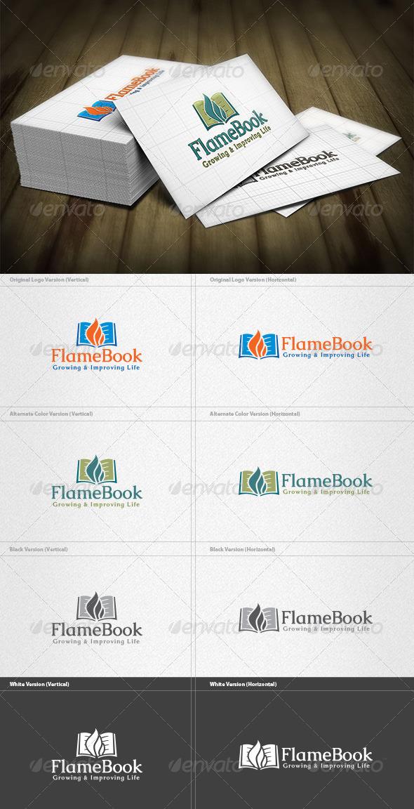 Flame Book Logo - Symbols Logo Templates