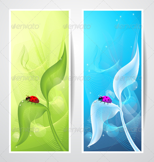 Creative Banners with Ladybird on Leaf  - Backgrounds Business