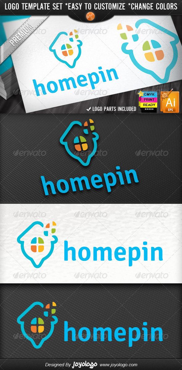 Pixel Windows Map Pointer Home Locator Logo - Buildings Logo Templates