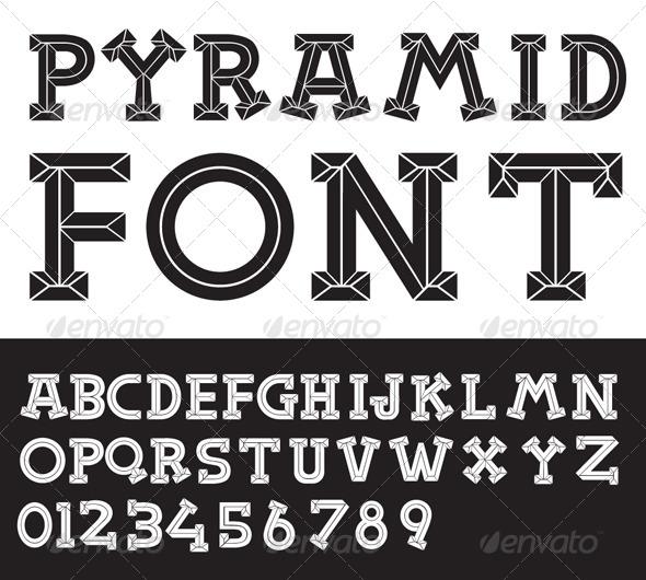 Pyramid Vector Font - Decorative Symbols Decorative