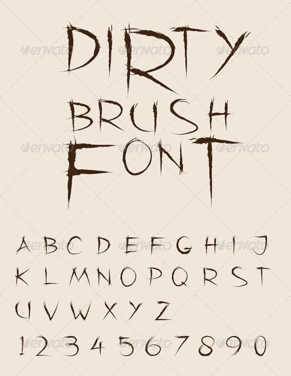 Dirty Brush Vector Font - Decorative Symbols Decorative