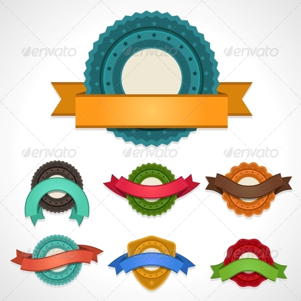 Set of Vector Labels, Badges and Ribbons. - Retail Commercial / Shopping