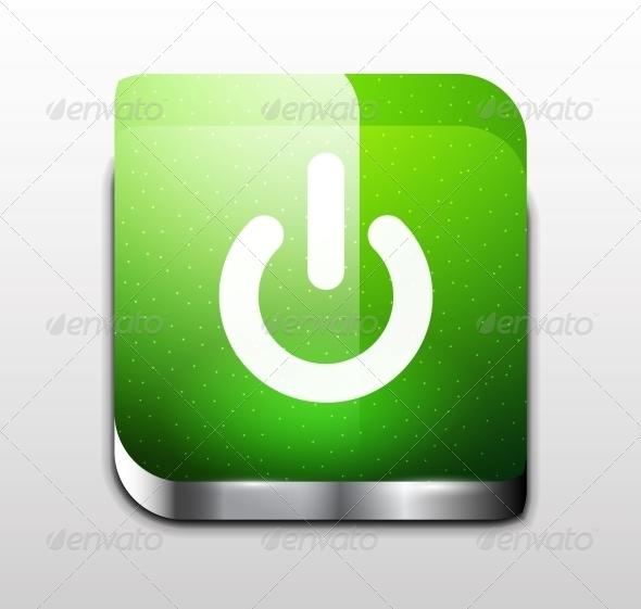 Glossy Square Power Button - Web Elements Vectors