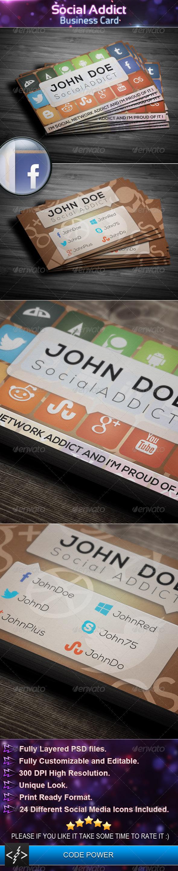 Social Addict - Business Card - Creative Business Cards