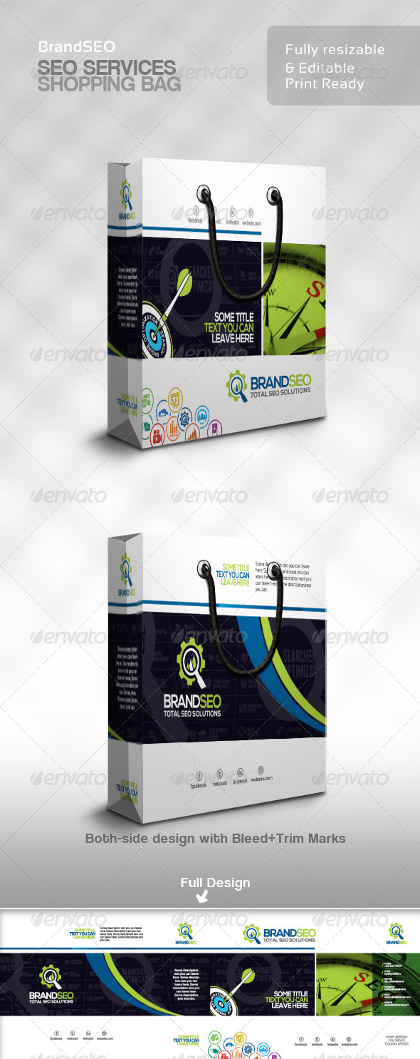 BrandSEO Creative SEO Service Shopping Bag - Packaging Print Templates