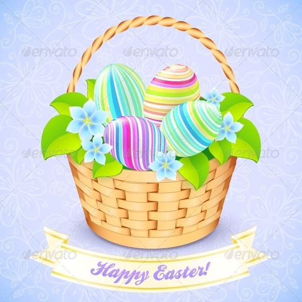 Easter Bucket with Flowers and Decorated Eggs - Birthdays Seasons/Holidays