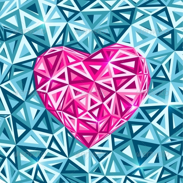 Pink Abstract Valentines Day Heart  - Valentines Seasons/Holidays