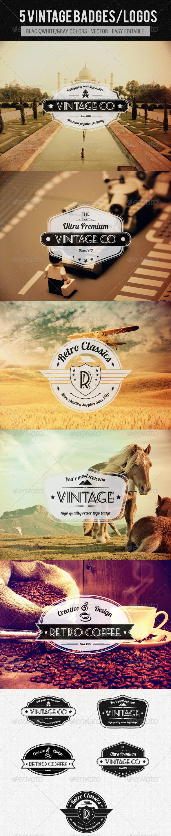 Vintage Logos/Badges - Badges & Stickers Web Elements