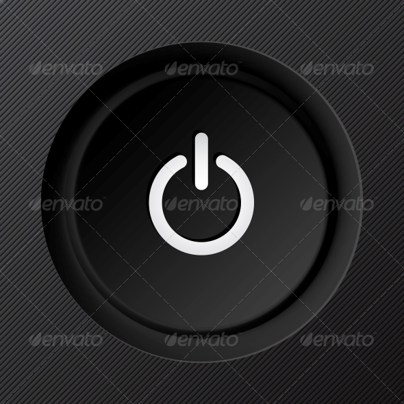 Black Plastic Vector Power Button - Web Technology