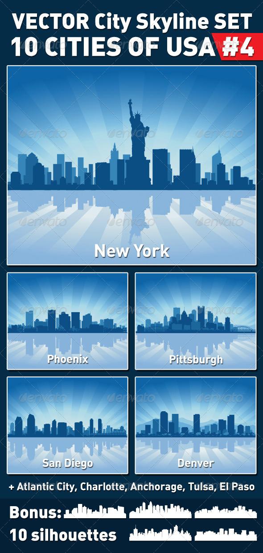 Vector City Skyline Set. USA #4 - Buildings Objects