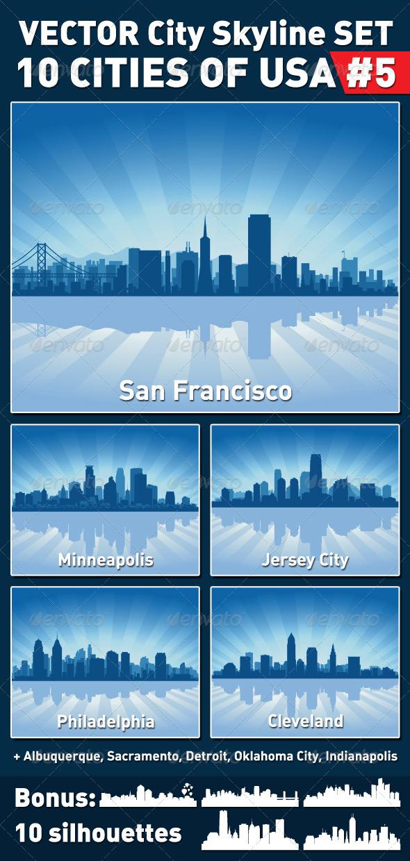Vector City Skyline Set. USA #5 - Buildings Objects