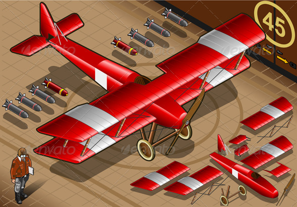 Isometric Red Biplane Landed in Front View - Objects Vectors