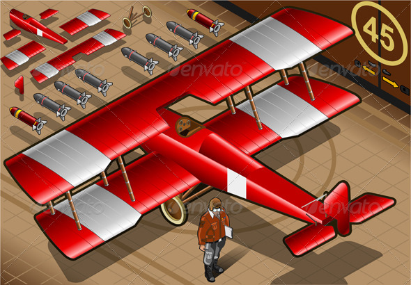 Isometric Red Biplane Landed in Rear View - Objects Vectors
