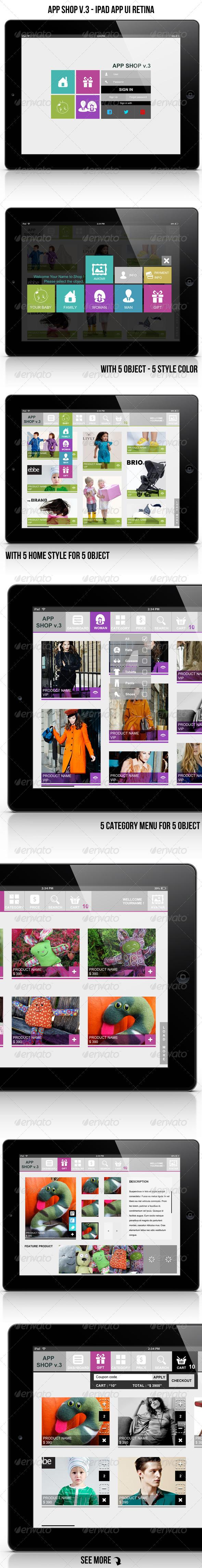 App Shop v.3 - Ipad App UI Retina - User Interfaces Web Elements