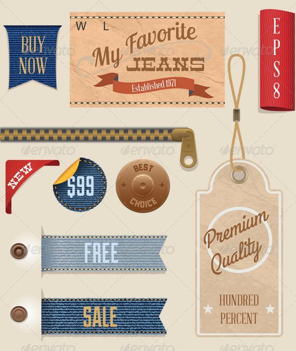 Jeans Labels and Tags Set - Decorative Vectors