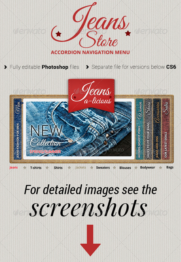 Jeans Store Accordion Navigation Menu - Sliders & Features Web Elements