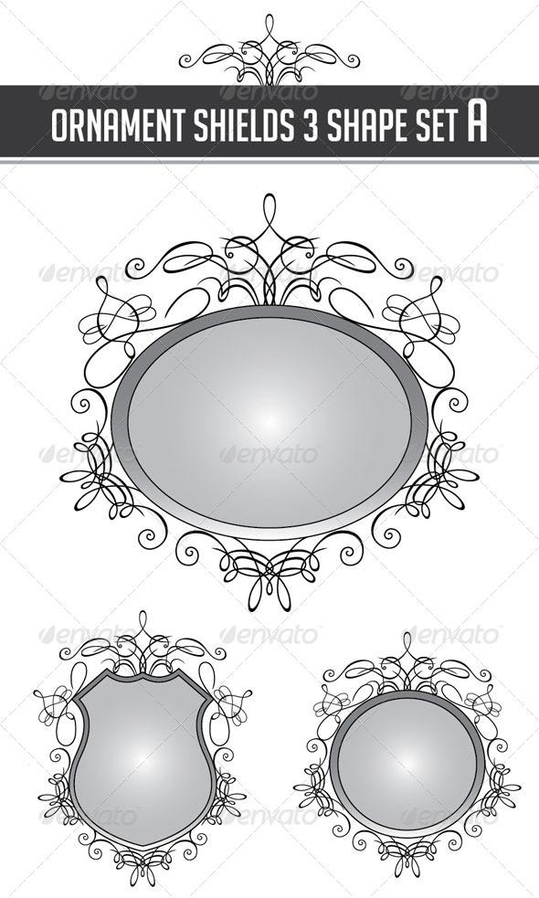 Ornament Shields 3 Shape Set A - Flourishes / Swirls Decorative
