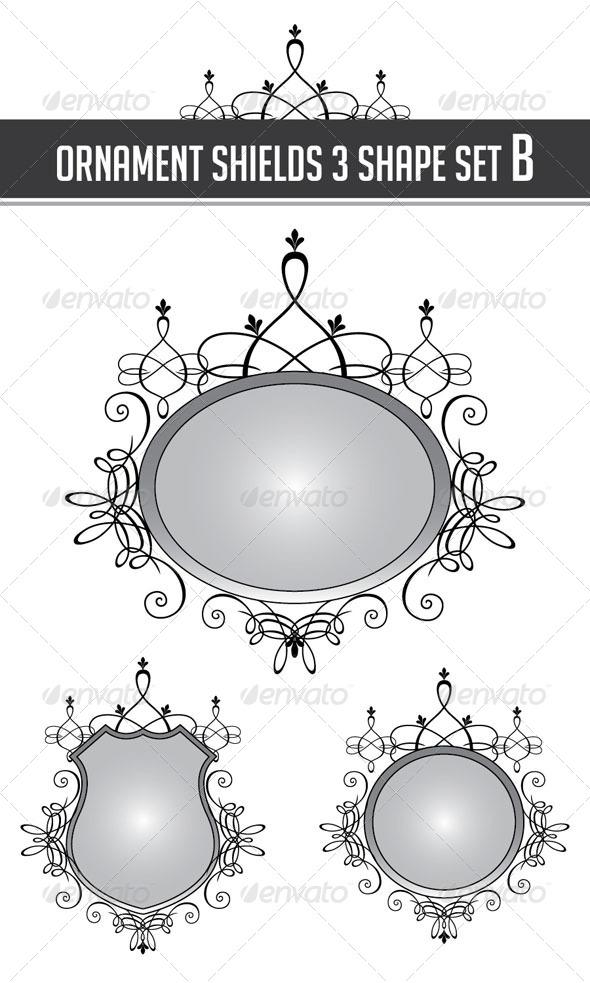 Ornament Shields 3 Shape Set B - Flourishes / Swirls Decorative