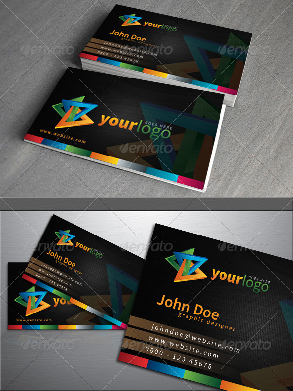Simple dark colorful business card - Business Cards Print Templates