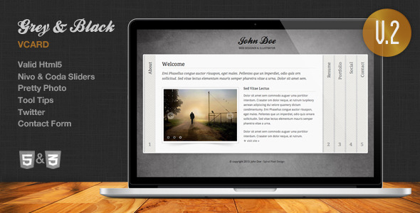 Grey & Black - Stylish Online vCard Html Template - Virtual Business Card Personal