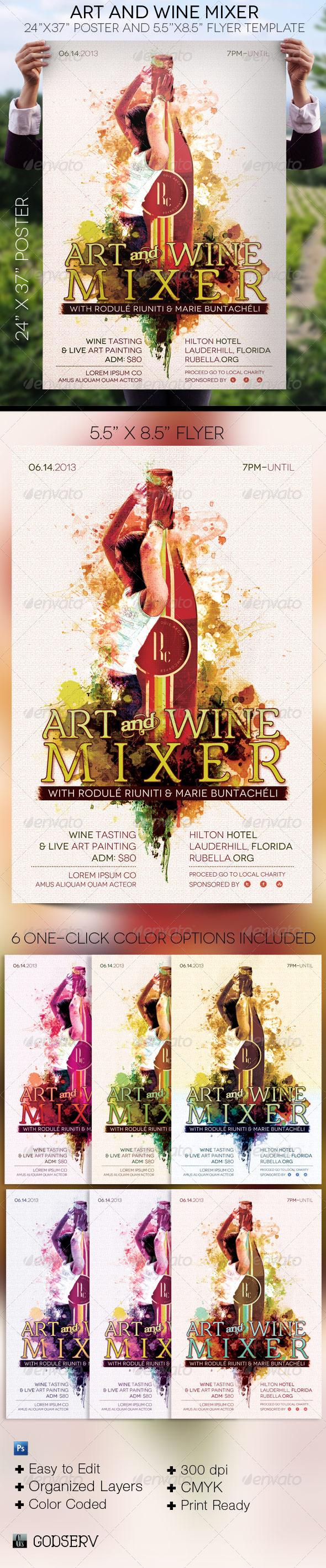Art Wine Mixer Poster Flyer Template - Signage Print Templates