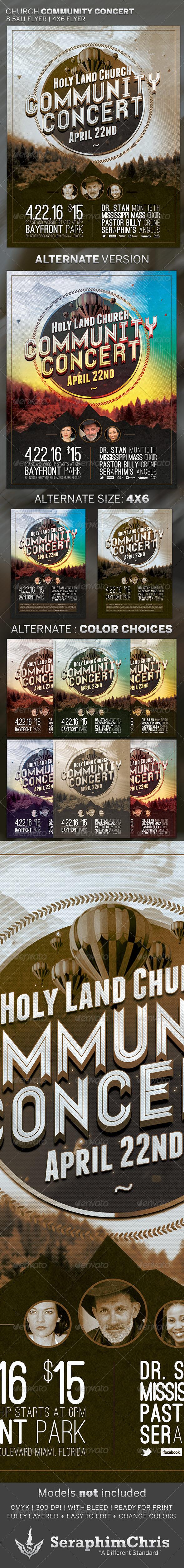 Church Community Concert: Flyer Template - Church Flyers