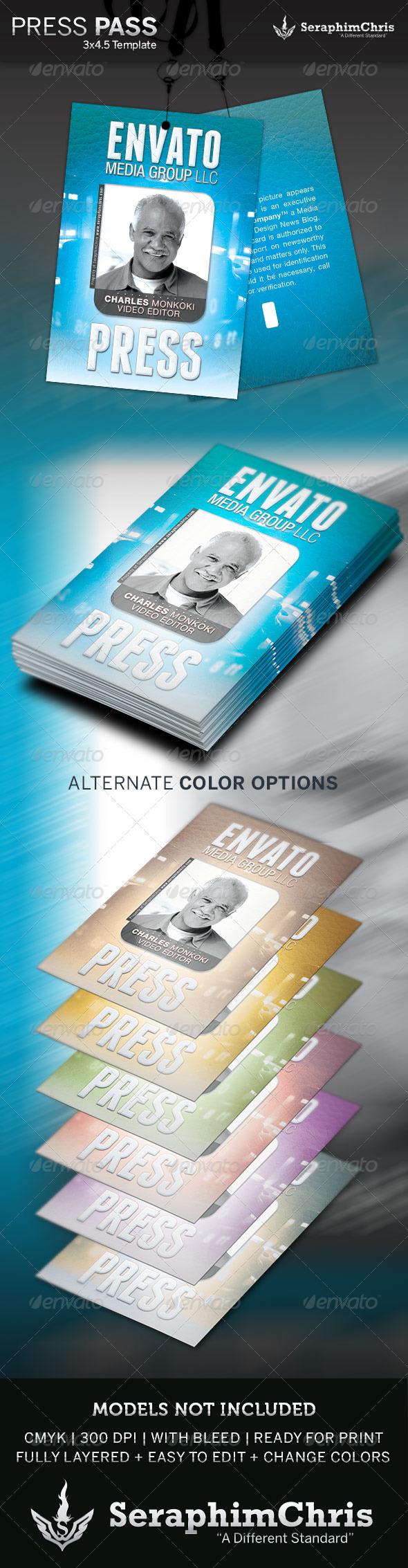 Press Pass Template - Miscellaneous Print Templates