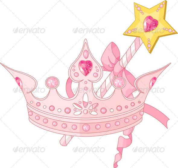 Princess Crown and Magic Wand   - Objects Vectors