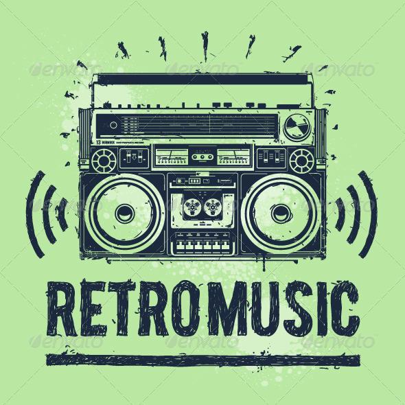 Old-School Tape Recorder - Vectors