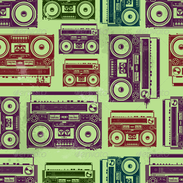 Old-School Tape Recorders Seamless Texture - Vectors
