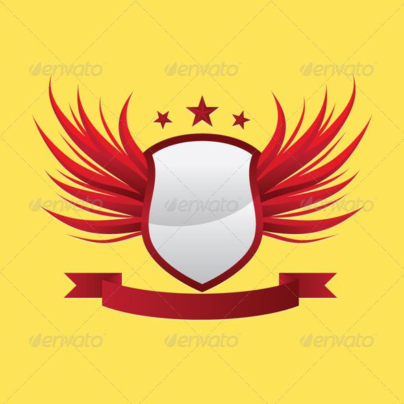Wing Shield Ribbon - Decorative Symbols Decorative