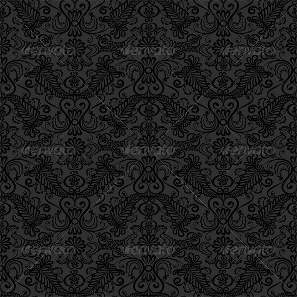 Black Seamless Lace Pattern on Gray Background - Backgrounds Decorative