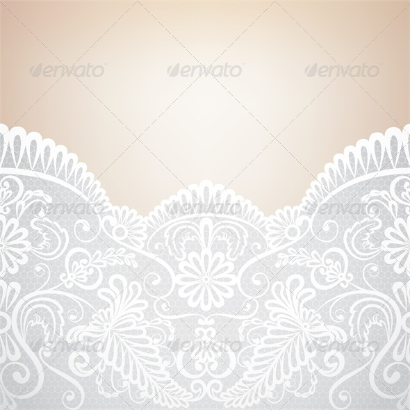 Wedding Invitation or Greeting Card with Lace Bord - Backgrounds Decorative