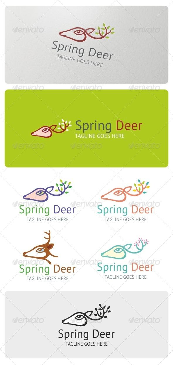 Spring Deer Logo Template - Animals Logo Templates