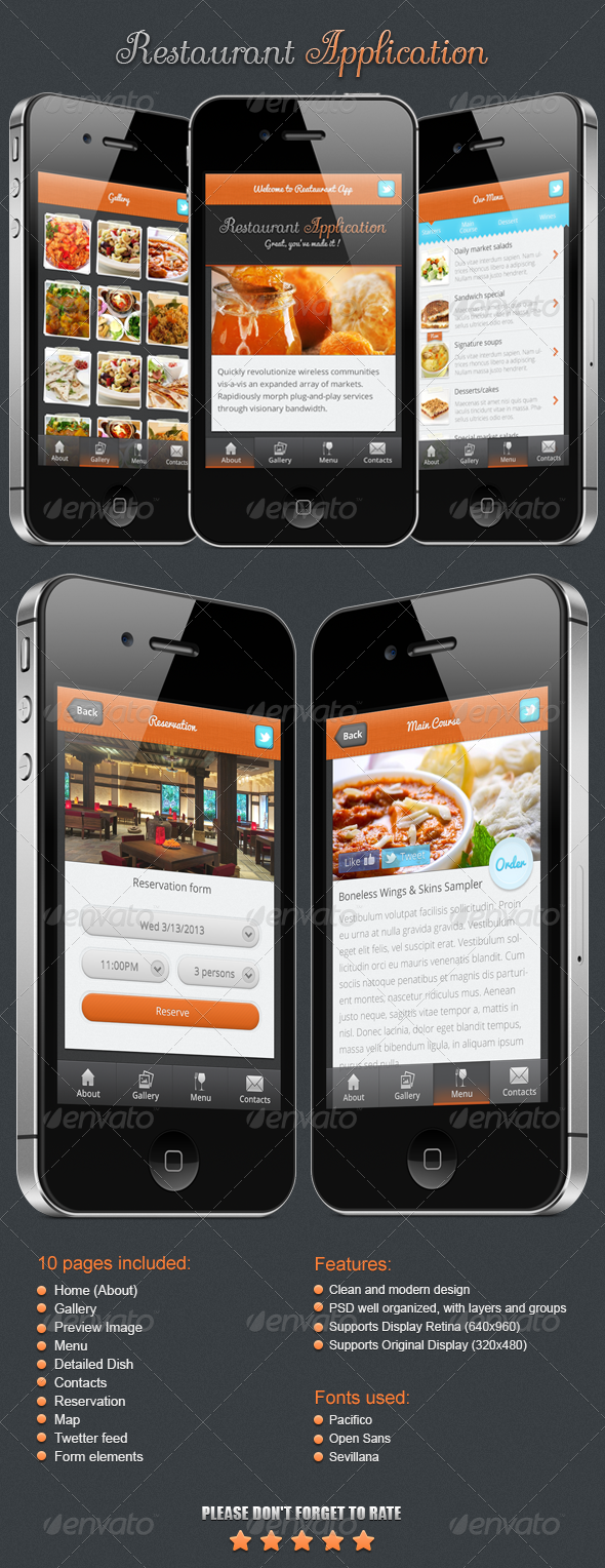Restaurant Application - User Interfaces Web Elements