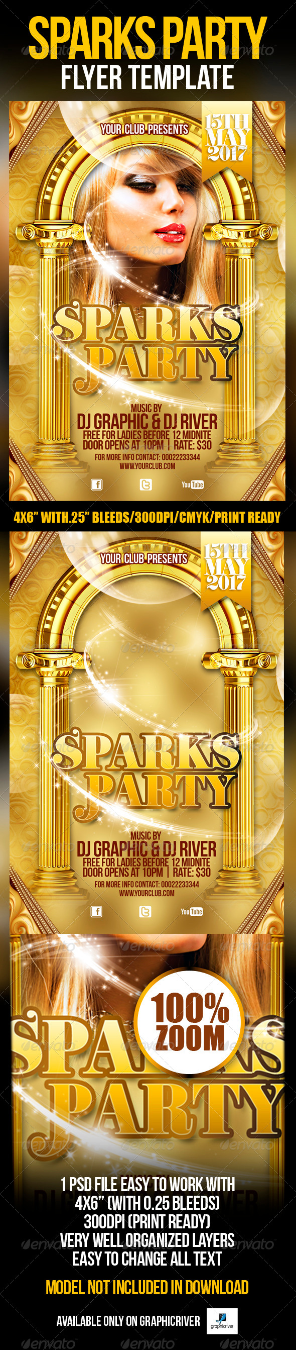 Sparks Party Flyer Template - Clubs & Parties Events