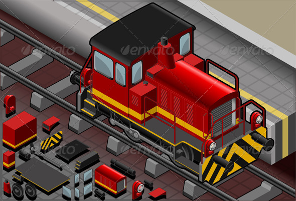 Isometric Red Train in Front View - Objects Vectors