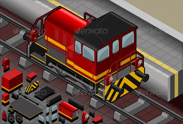 Isometric Red Train in Rear View - Objects Vectors