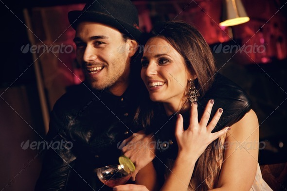Cheerful Couple at the Club Having Fun - Stock Photo - Images