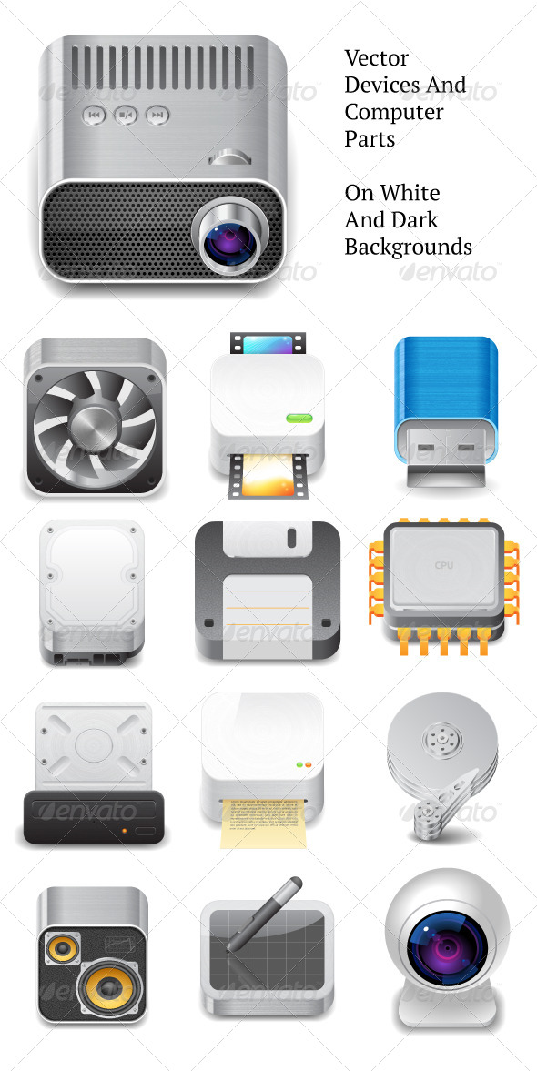 Vector Devices and Computer Parts - Technology Conceptual