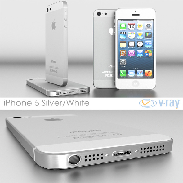 Apple iPhone 5 White / Silver Vray - 3DOcean Item for Sale
