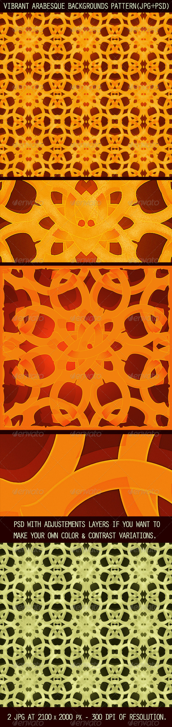 2 Vibrant Arabesque Background Patterns - Patterns Decorative