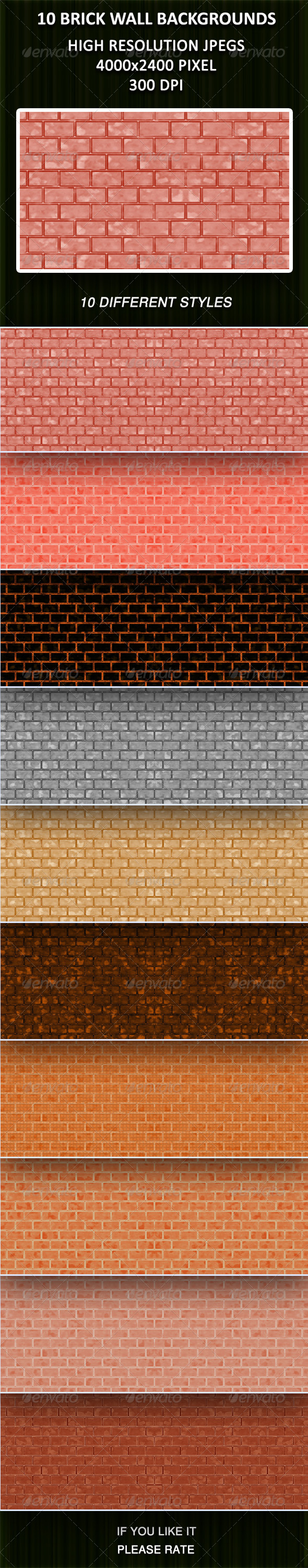 10 Brick Wall Backgrounds - Patterns Backgrounds