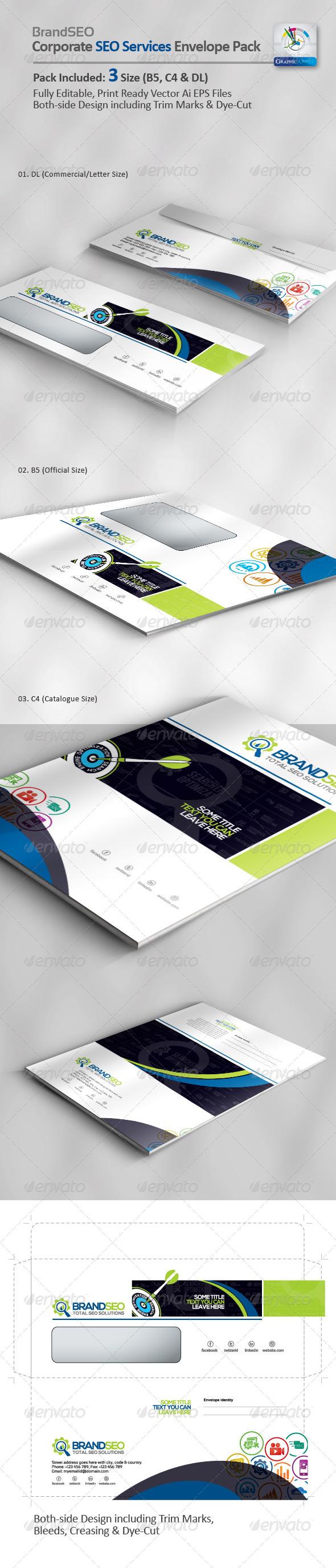 BrandSEO Creative SEO Services Envelope Pack - Packaging Print Templates