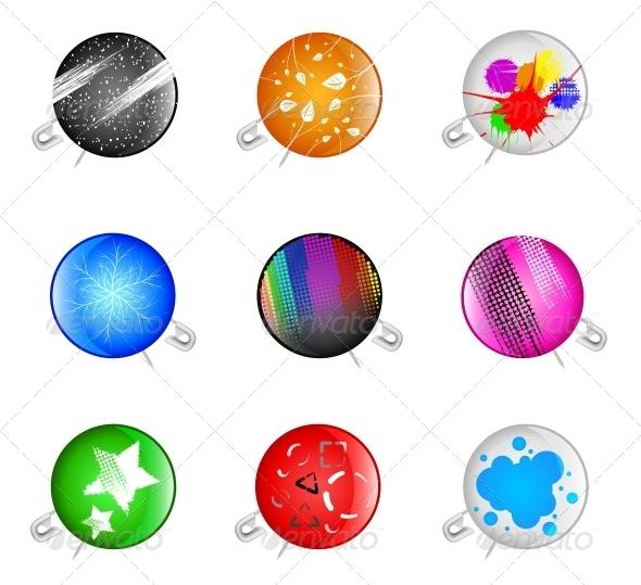 Badges with a Pin - Decorative Symbols Decorative