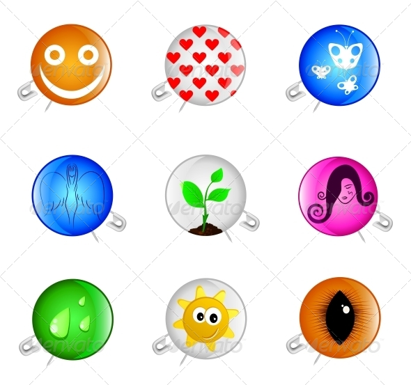Badges with a Pin - Decorative Symbols Decorative
