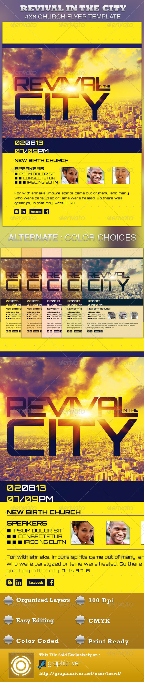 Revival in the City Church Flyer Template - Church Flyers