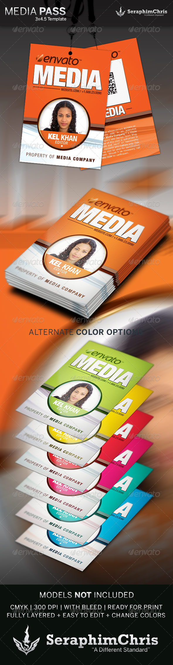 Media Pass Template  - Miscellaneous Print Templates