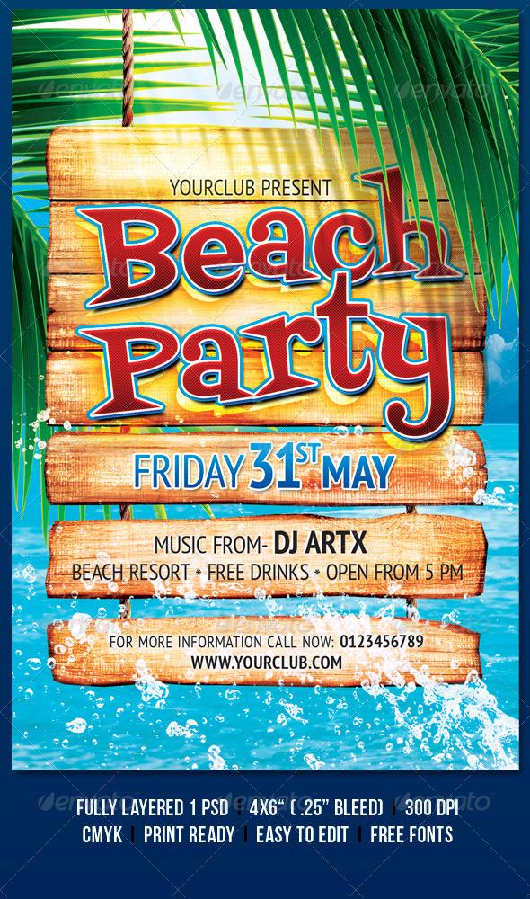Beach Party - Flyers Print Templates